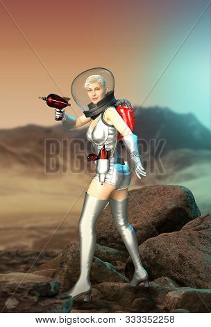 Beautiful Woman In A Sexy Retro Sci-fi Costume, Armed With A Ray Gun, On A Desolate Planet, 3d Rende