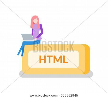 Woman Programmer, Html Button And Laptop. Programming Or Coding, Digital Technology. Internet Websit
