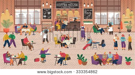 Coffeehouse With People, Coffee Shop Service. Barista And Waitress Working In Cafe. Customers Playin