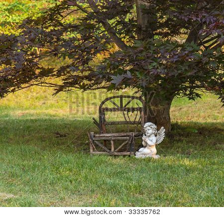 Park Bench And Angel