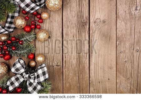 Christmas Side Border With White And Black Checked Buffalo Plaid Ribbon, Decorations And Tree Branch