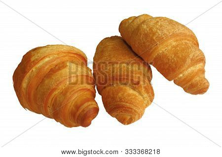 Croissants Isolated On White Background. Clipping Path Included.