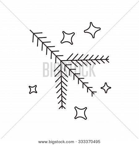 Graphical Vector Linear Set Of Christmas Branch Firtree. Lineart Style Simple Christmas Tree Icon