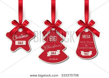 Christmas Sale Tags Set. Big Winter Holidays Discounts. Fir Tree, Bell, Star Shapes Labels Hanging O