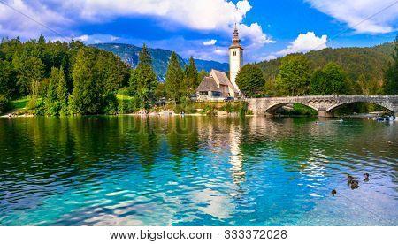 Idyllic nature scenery - Wonderful lake Bohinj in Slovenia, Triglav national park