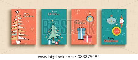 Merry Christmas Greeting Card Set Of Funny Retro Cartoon Pine Tree Illustration Templates For Party