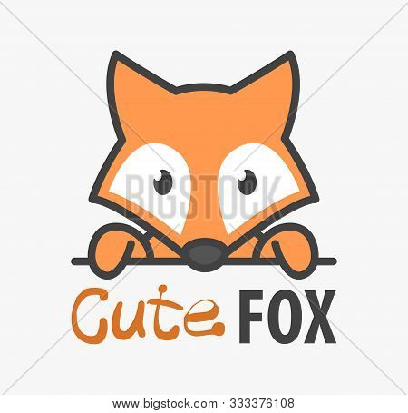 Logo Template With Cute Fox. Vector Logo Design Template For Zoo, Veterinary Clinics And Animal Shel