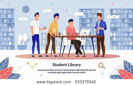 Flat Banner Student Library In College, Cartoon. Modern Library Interior With Bookshelves And Laptop