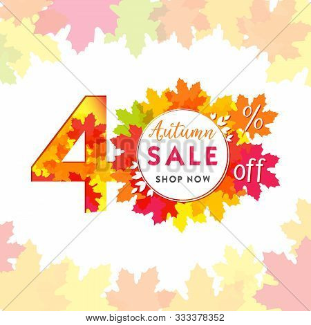 40 Autumn Red Logotype. Colorful Foliage, Frame And White Paper Background. Calendar Numbers Idea. 4