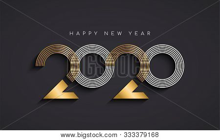 Happy New Year Greeting Card Illustration Of Modern Abstract Holiday Calendar Number Sign In Elegant