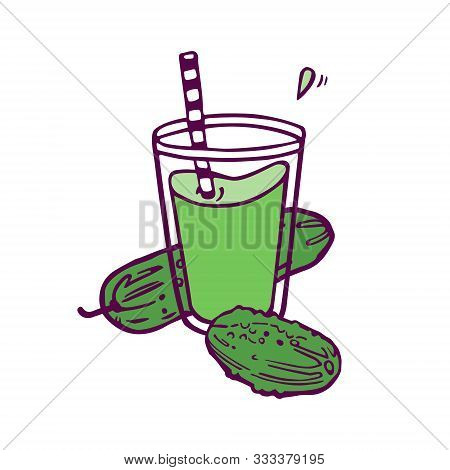 Cucumber Fresh Juice Or Smoothie. Hand-drawn Illustration In Cartoon Style. Isolated On White Backgr