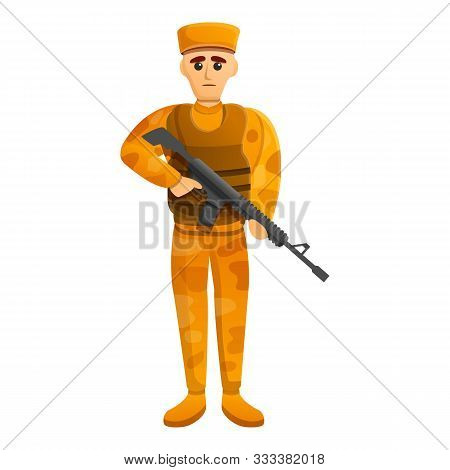 Combat Desert Soldier Icon. Cartoon Of Combat Desert Soldier Vector Icon For Web Design Isolated On