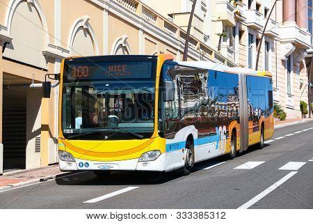 Monte-carlo, Monaco - September 12, 2019: Urban Articulated Bus Mercedes-benz O530 Citaro G In The C