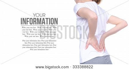 Woman Back Pain On White Background Isolation, Space For Text