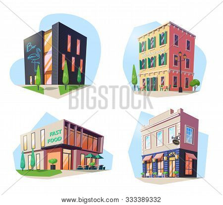 Set Of Isolated Buildings For Nutrition. Fast Food And Bar, Restaurant And Cafe, Bistro And Cafeteri