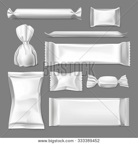 Set Of Realistic Wrapper For Confectionary Products, Wrap For Candy And Sachet For Sugar, Pack For S