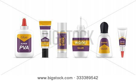 Set Of Realistic Glue Tubes Or Sticks. Superglue And Quick Adhesive, Power And Wood, Pva And Univers
