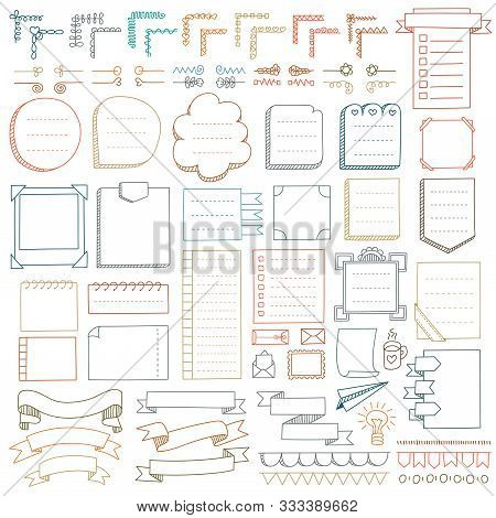 Bullet Journal Hand Drawn Vector Elements For Notebook, Diary And Planner. Doodle Banners Isolated O