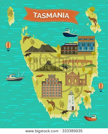 Tasmania Map Or Tassie Island, Tas Famous Landmarks. Cradle And Barn Bluff Mountain, Kangaroo, Platy