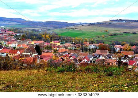 Typical Rural Landscape And Peasant Houses In Garbova, Transylvania, Romania. The Settlement Was Fou