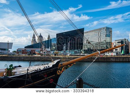 Liverpool, United Kingdom - July 18, 2019: A Classic Ship Set Against The Liverpool Cityscape At The