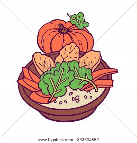 Healthy Meal With Pumpkin. Hand-drawn In Cartoon Style, Colored Artwork Isolated On White Background