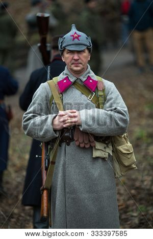 VORONEZH, RUSSIA - NOV 10, 2019: Participants of military-historical reconstruction, dedicated to combat action in 1941 during WWII. More than 200 reenactors are involved in reconstruction of battle.