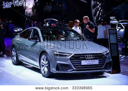 Frankfurt Am Main, Germany - September 17, 2019: Grey Motor Car Audi A7 At The Frankfurt Internation