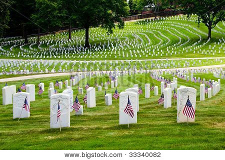 Flags decorate veterans cemetery for Memorial Day