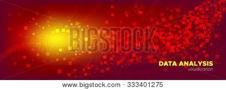 Tech Poster. Neon Particle Motion. Big Data Analysis. Glow Binary Matrix Background. Yellow Tech Abs