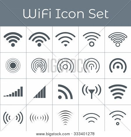 Set Of 20 Different Grey Wireless And Wifi Icons For Remote Access And Communication Via Radio Waves