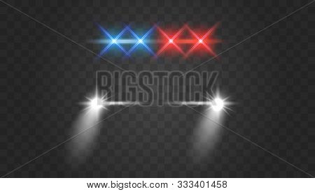 Lights Flares And Siren Effect Front View. Police Car Headlights And Blinking Red Siren Lights.  Rea