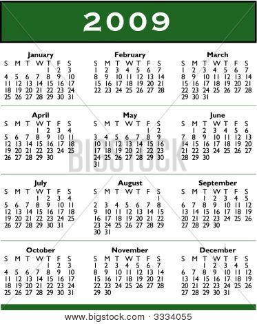 2009 Calendar Vector