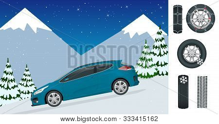 Slippery, Ice, Winter, Snow Road And Cars. Caution Snow. Winter Driving And Road Safety. Urban Trans