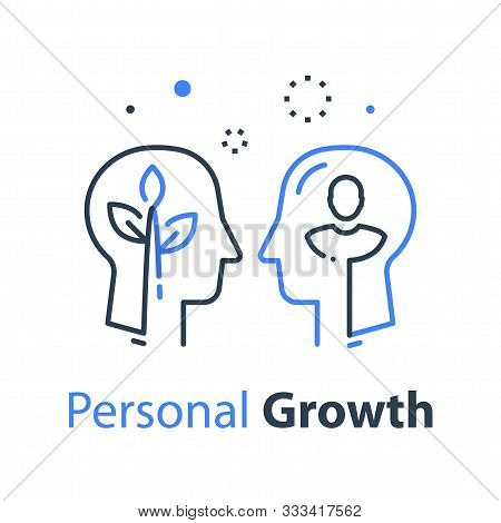 Two Human Head Profiles, Self Improvement, Mentoring Concept, Pursuit Of Happiness, Self Esteem And