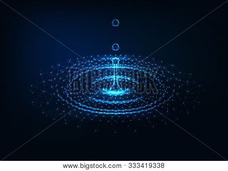 Futuristic Glowing Low Poly Falling Water Drops And Water Circle Ripples On Dark Blue Background.