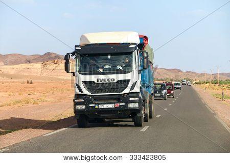 Al Haouz Province, Morocco - September 23, 2019: White Semi-trailer Truck Iveco Stralis At The Inter