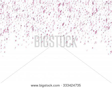 Red Flying Musical Notes Isolated On White Backdrop. Cute Musical Notation Symphony Signs, Notes For
