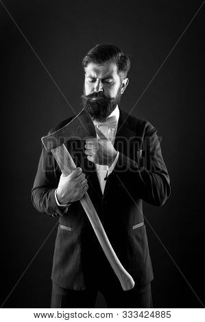 Sharp Ax Hand Confident Guy. Masculinity And Brutality. Barbershop Hairstyle. Firm Determination. Br