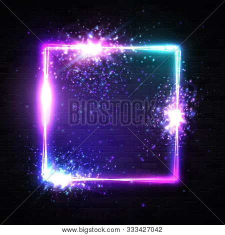 Square Neon Sign On Black Brick Wall With Text Space. Color Light Rectangle Background With Shining