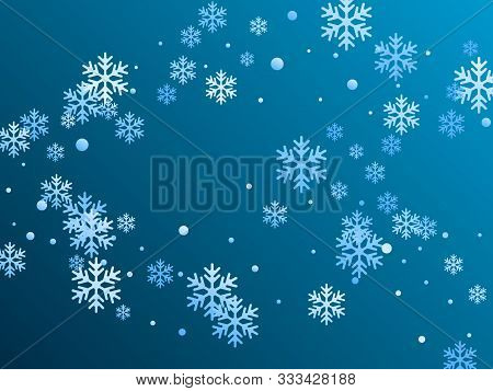 Crystal Snowflake And Circle Elements Vector Design. Chaotic Winter Snow Confetti Scatter Flyer Back
