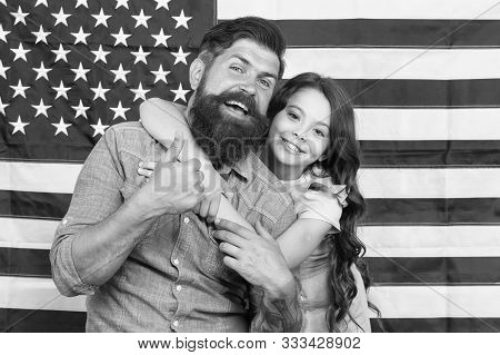 Life, liberty and the pursuit of happiness. Happy family celebrating independence day on american flag background. Happiness day. Happiness and americal ideals. Pursuing happiness and following dream. poster