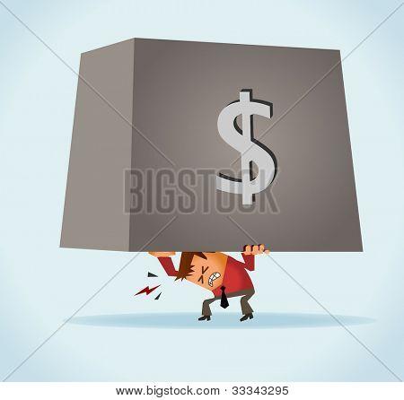 Overburdened of debt. Vector
