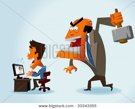 Productivity problem in office. Vector illustration