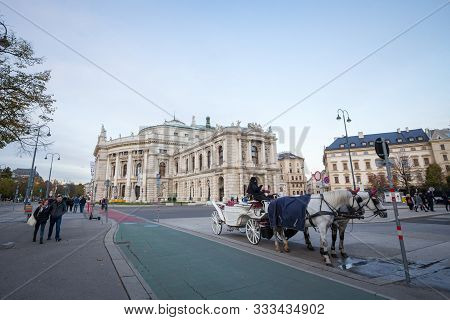 Vienna, Austria - November 6, 2019: Fiaker, A Typical Horse Drawn Carriage, Standing In Front Of The