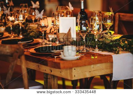 Elegant Arrangement Of The Holiday Tableware. Vintage Decoration Of Reception Dinner Table. Rustic W