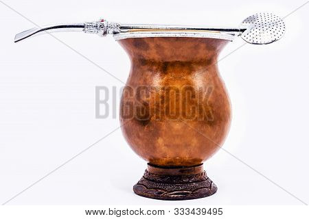 Cup Of Mate, Called Chimarrão, From South America. White Isolated Background, Utensil For Mate Herb