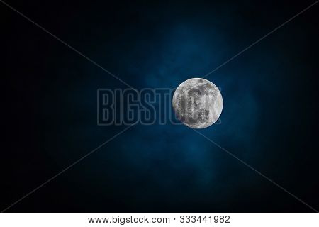 Full Moon Background With Moonlight Night Sky. Elements Of This Photo Furnished By Nasa.