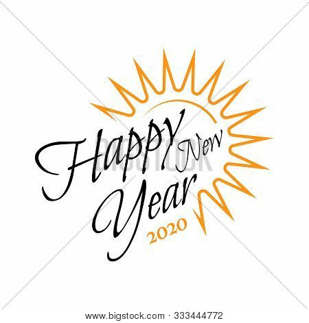 Happy New Year 2020 On White Background. .hand Drawn Curve And Swirl Of New Year 2020 .celebrations