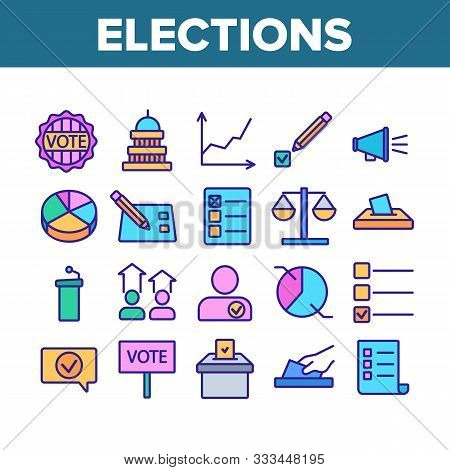 Voting And Elections Collection Icons Set Vector Thin Line. Including Ballot Voiting Box, Vote And J